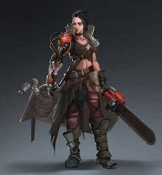 ArtStation - chainsaw sword , Yishu Ci Female Character Concept, Character Design Cartoon, My Character, Character Ideas, Nail Bat, Face Characters, Girls Characters, Fictional Characters, Cyberpunk
