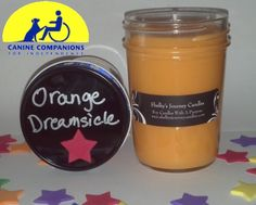 Orange Dreamsicle Organic Soy Candle!  Eco friendly, clean and slow burning. Get 43 hours of burn time out of our 8 oz candles! A portion of the proceeds are donated to help the disabled. For more information about Shelby and her candles visit us at www.shelbysjournecandles.com or like us on Facebook http://www.facebook.com/pages/Shelbys-Journey-Candles/316453241762830