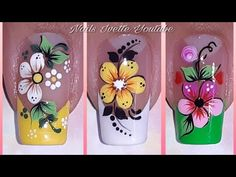 Gel Nail Art Designs, Flower Nail Designs, Flower Nail Art, Aycrlic Nails, Nail Manicure, Black And White Nail Designs, Pretty Toe Nails, Kawaii Nails, Bride Nails