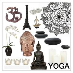 Yoga by szaboesz on Polyvore featuring interior, interiors, interior design, home, home decor, interior decorating, Abbyson Living, Sia, Cultural Intrigue and Dot & Bo