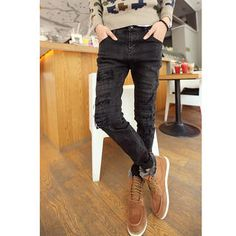 Distressed Stitched Straight Leg Jeans from #YesStyle <3 CRYX YesStyle.ca