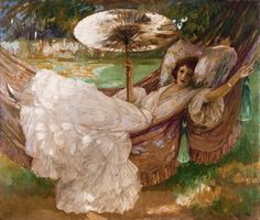 Victorian lady with parasol draped in a hammock.....Red Hammock-John Lavery...