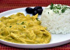 Get Aji de Gallina (Chicken in a Spicy Sauce) Recipe from Food Network Peruvian Dishes, Peruvian Cuisine, Peruvian Recipes, Sauce Recipes, Chicken Recipes, Recipe Chicken, Frango Chicken, Peruvian Chicken, Walnut Sauce