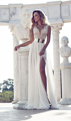 Sexy Beaded Side Slit Wedding Dress with Gold Belt