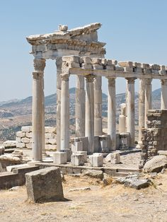 The reconstructed Temple of Trajan at Pergamon, in modern-day Turkey, 2nd century AD