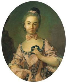 Jean-Baptiste Perronneau, Portrait of a Lady, half length, wearing a pink dress with a lace border, holding a mask