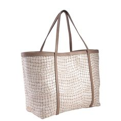 GiGi New York Shell Croc Embossed  Tommie Tote in Pearl