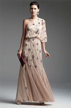 Adrianna Papell Beaded One Shoulder Gown. #Nordstrom #FallTrend