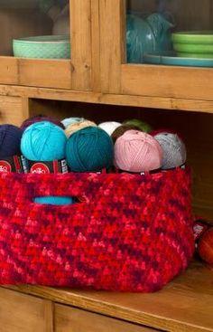 Store Your Stash Basket Free Crochet Pattern from Red Heart Yarns ❥Teresa Restegui http://www.pinterest.com/teretegui/❥