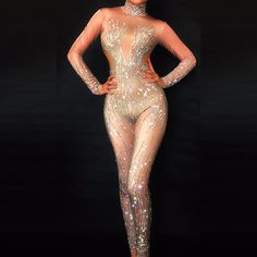 Bling Silver Crystals Nude Jumpsuit Sexy Nightclub Bar Wear Full Rhinestones Jumpsuit Costume Prom Birthday Celebrate Outfit
