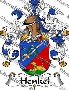 Henkel Coat of Arms Henkel Family Crest Instant Download