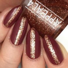 Matte Burgundy and Glitter New Years Eve Nails