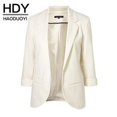 HDY Haoduoyi 2016 Autumn Fashion Women 7 Colors Slim Fit Blazer Jackets Notched Three Quarter Sleeve Blazer - Shops Hive