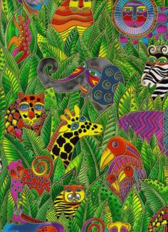 laurel+burch+fabric | Laurel Burch Fabric 1 Yard Secret Jungle Animals