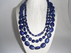 Lapis Lazuli Blue Triple Strand Necklace Silver Toggle Fashion under 60. $59.00, via Etsy.