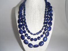 Lapis Lazuli Blue Triple Strand Necklace Silver Toggle Fashion under 60. $59.00, via Etsy.