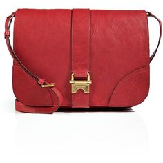 SONIA RYKIEL Leather Messenger Bag in Carmine ($384) ❤ liked on Polyvore featuring bags, messenger bags, handbags, purses, red leather bag, sonia rykiel bags, red bags, pocket bag and leather courier bag