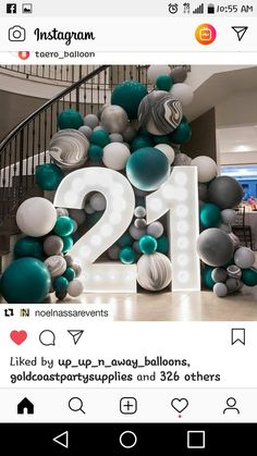 21st birthday balloons 21st Birthday Decorations, Balloon Decorations, Birthday Parties, Diy Birthday, Birthday Games, Birthday Ideas, Surprise Birthday, Deco Ballon, Decoration Photo