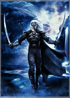 Guessing this is a picture of Drizzt Do'Urden. Dark elf with two scimitars. Forgotten Realms