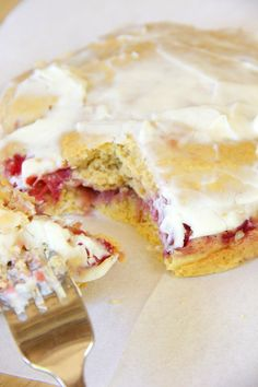 Strawberries & Cream Coffee Cake | Skinny Girl Standard I'm going to try raspberries. ..mmm!!
