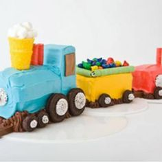 Sweet! How to make a no-bake train birthday cake with frozen pound cake. Easy, step-by-step recipe, diagrams and pictures