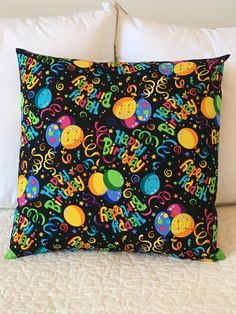 Happy Birthday Pillow Cover  Swappillow Covers by KathyRyanDesigns