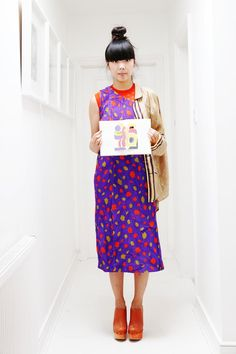 Susie Bubble wearing Topman shirt, Sibling knit top, vintage print dress, Pollini clogs #susielau #stylebubble