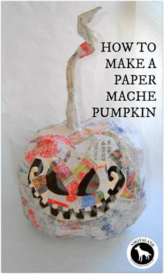 PAPER MACHE PUMPKIN GRIN2 - good instructions using bag for frame