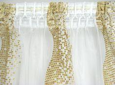 Trendoro Gardine, 1 Fertig-Gardine Kollektion Golden Wave, feiner Voile goldfarbig bestickt, (L x B) 245 x 140  cm, FTHM0049