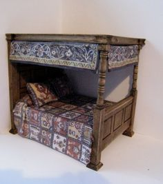 Bed double Medieval Canopy  dressed  a by Insomesmallwayminis, $37.50