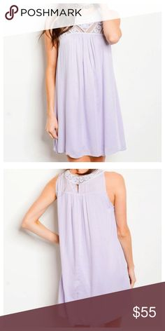 """Lavender Embellished Dress Available in sizes Small, Medium or Large.   • Embellished Neck Details  • 100% Rayon  • Shift Dress  • Fully Lined   Model is wearing a size small. L: 33"""" B: 40"""" W: 44""""  *Model shown wearing the exact product.  If you have any questions, feel free to ask! 💕 Dresses Mini"""