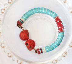 Rope Bracelet Mint Turquoise Red Bracelet by stellacreations