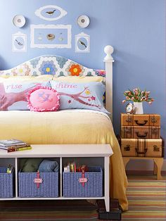 With a little basic carpentry and a beautiful old quilt, you can create this charming headboard! http://www.bhg.com/rooms/bedroom/headboard/cheap-chic-headboard-projects/?socsrc=bhgpin033115quiltheadboard&page=15
