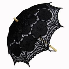 Battenburg Lace Parasol - Black, Wood Handle