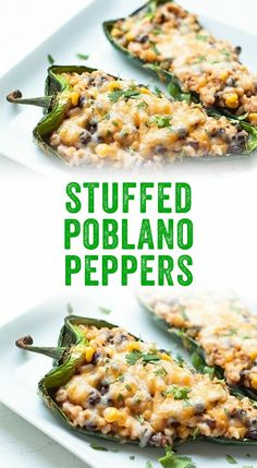 These stuffed poblano peppers are so easy to make! The zesty filling features rice, corn, black beans, and of course: gooey cheese. Mexican Dishes, Mexican Food Recipes, Vegetarian Recipes, Cooking Recipes, Healthy Recipes, Vegetarian Mexican, Superfood Recipes, Going Vegetarian, Vegetarian Dinners