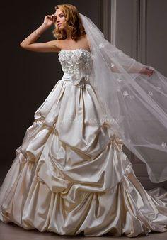 appliques ball gown classic satin natural waist strapless wedding dress - Gindress.com