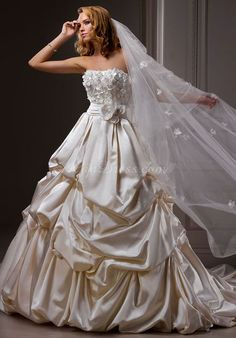 appliques ball gown classic satin natural waist strapless wedding dress - Gindress.com