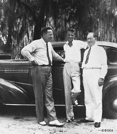 Young Billy Graham posed with two of his teachers from the Florida Bible Institute. (1937)
