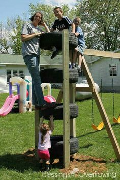 Tire Climbing Tower-can add on to any swing set This looks great - what a good idea for using old tires - I want one for our backyard!Could make a Tire Climbing Tower upto the Backyard Play Ideas You Can Do By YourselfA huge collection of Kids Outdoor Play, Outdoor Play Areas, Kids Play Area, Backyard For Kids, Outdoor Fun, Backyard Ideas, Kids Yard, Play Yard, Backyard Games