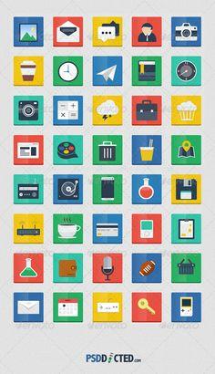 60 Flat Squared Icons - Web Icons