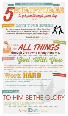 5 Scriptures to help you get through your day. #infographic, #Bible, #religion