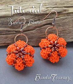 Sunburst Flower - superduo bead pattern, beading tutorial, earrings, pendant, ornament, seed beads, pumpkin, halloween