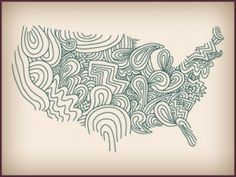 doodle map of United States of America mainland