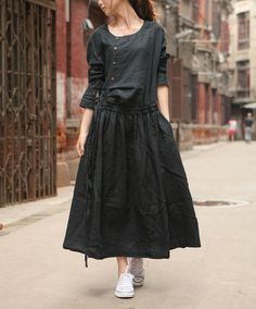 Linen Dress Gown in Black / Custom Long Bridesmaid Dress - Made to order. $78.00, via Etsy.