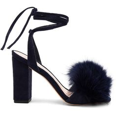Loeffler Randall Nicolette Fox Fur Heel (£380) ❤ liked on Polyvore featuring shoes, pumps, heels, heel pump, leather sole shoes, loeffler randall, wrap shoes and pom pom shoes