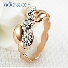 >> Click to Buy << MOONROCY Free Shipping Fashion Crystal Ring Zirconia Jewelry Wholesale Rose Gold Color Fashion Gift women's #Affiliate
