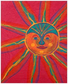 Elegant, wise sun, maker of all things colorful. This acrylic painting is done on wood and is one of a series of paintings of suns. Sawtooth hanger attached on back.    I can make a custom painted frame for this piece for only $55.    11 1/2 X 14 Acrylic paint on wood.    Thanks for taking a look.    Barry