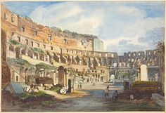 Ippolito Caffi - Interior of the Colosseum - Drawing