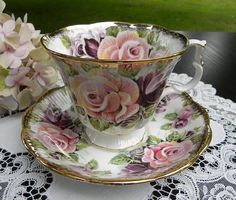 """RP: The Pink Rose Cottage - Royal Albert Summer Bounty Series """"Amethyst"""" Teacup and Saucer"""