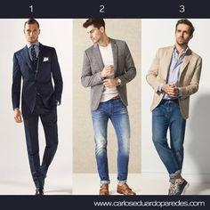 Te comparto estas 3 recomendaciones de outfits masculinos para este marte en la oficina. ¿Cuál es tu favorito? ¿1, 2 ó 3?